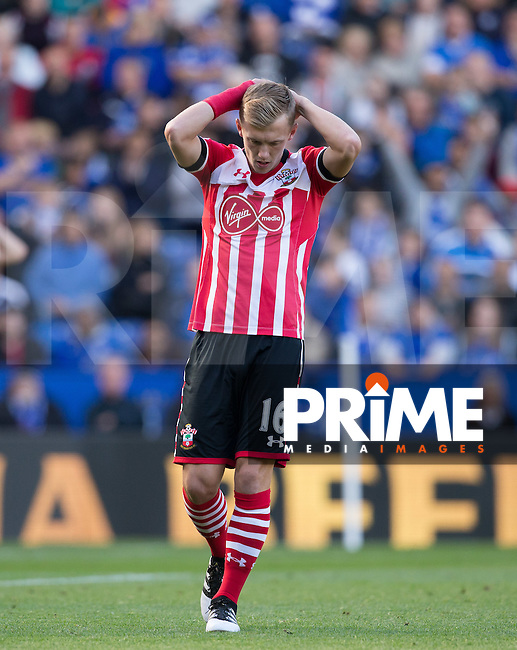 James Ward-Prowse of Southampton shows his disappointment during the Premier League match between Leicester City and Southampton at the King Power Stadium, Leicester, England on 2 October 2016. Photo by Andy Rowland.