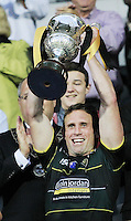 PICTURE BY CHRIS MANGNALL /SWPIX.COM...Rugby League - International Origin Match  - England v Exiles - Galpharm Stadium, Huddersfield, England  - 04/07/12... Exiles  Captain Brett Hodgson lifts the Origin Trophy