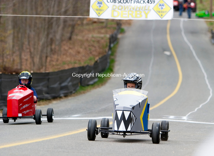 BETHLEHEM, CT- 29 APRIL 07- 042907JT11-<br /> From left, Zachary Guerrette and Riley Steiner race soap box cars built by Cub Scout Pack 459 during their 2nd annual Downhill Derby on Hard Hill Road North in Bethlehem on Sunday.<br /> Josalee Thrift Republican-American
