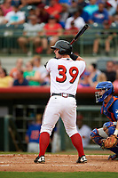 Florida Fire Frogs catcher Tanner Murphy (39) at bat in front of St. Lucie Mets catcher Patrick Mazeika (11) during a game against the St. Lucie Mets on July 23, 2017 at Osceola County Stadium in Kissimmee, Florida.  St. Lucie defeated Florida 3-2.  (Mike Janes/Four Seam Images)