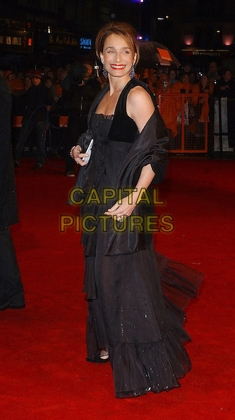 KRISTIN SCOTT THOMAS.The 2006 Orange British Academy Film Awards, Odeon Leicester Square, London, UK..February 19th, 2006.Ref: BEL.full length black dress wrap bafta baftas.www.capitalpictures.com.sales@capitalpictures.com.© Capital Pictures.
