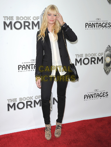 "Beth Behrs.""The Book of Mormon"" Hollywood Opening night Held At The Pantages theatre, Hollywood, California, USA..September 12th, 2012.full length shirt blazer black white jeans denim brown leopard print shoes hand arm.CAP/DVS.©DVS/Capital Pictures."