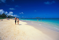 Lanikai Beach's white sands and  blue waters have made it one of the world's top 10 beaches.  Windward Oahu.