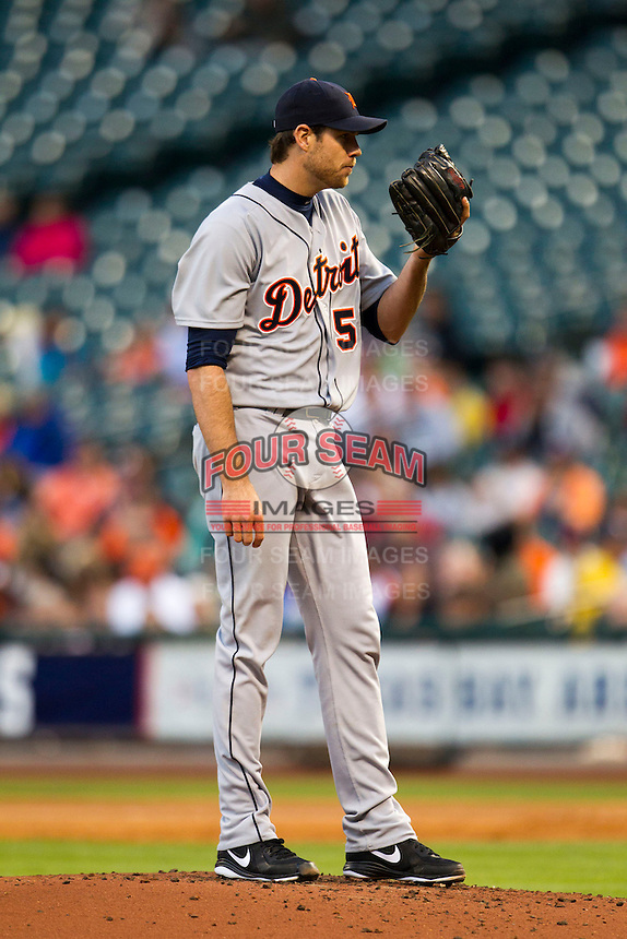 Detroit Tigers starting pitcher Doug Fister (58) looks to his catcher for the sign during the MLB baseball game against the Houston Astros on May 3, 2013 at Minute Maid Park in Houston, Texas. Detroit defeated Houston 4-3. (Andrew Woolley/Four Seam Images).