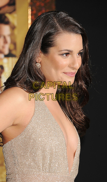 "Lea Michele.The World Premiere of ""New Year's Eve' held at The Grauman's Chinese Theatre in Hollywood, California, USA..December 5th, 2011.half length dress beige gold sparkly side headshot portrait profile halterneck plunging neckline cleavage  .CAP/ROT/TM.©Tony Michaels/Roth Stock/Capital Pictures"