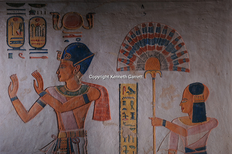 Zahi Hawass Secret Egypt Travel Guide; Egypt; archaeology; Luxor; West Bank; Valley of the Queens Tomb of Kha-em-Waset, son of Ramses III, followed by young son, New Kingdom