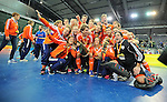 Leipzig, Germany, February 08: Teams of The Netherlands present their World Cup Trophies at the FIH Indoor Hockey World Cup on February 8, 2015 at the Arena Leipzig in Leipzig, Germany. (Photo by Dirk Markgraf / www.265-images.com) *** Local caption ***