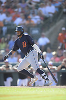 Detroit Tigers second baseman Dawel Lugo (18) during a Grapefruit League Spring Training game against the Baltimore Orioles on March 3, 2019 at Ed Smith Stadium in Sarasota, Florida.  Baltimore defeated Detroit 7-5.  (Mike Janes/Four Seam Images)