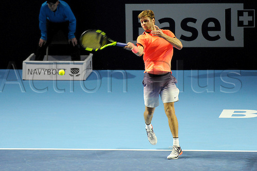 23.10.2016.  St. Jakobshalle, Basel, Switzerland. Basel Swiss Indoors Tennis Championships. Qualifying Day 2. Ryan Harrison in action in the match between Ryan Harrison of the United States of America and Mischa Zverev of Germany