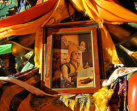 ATemple in Qinghai, China, displays a photo of the Dalai Lama 12 November 2008. Qinghai Province in western China borders Tibet and parts were the scenes of disturbance earlier this year, 2008.<br />