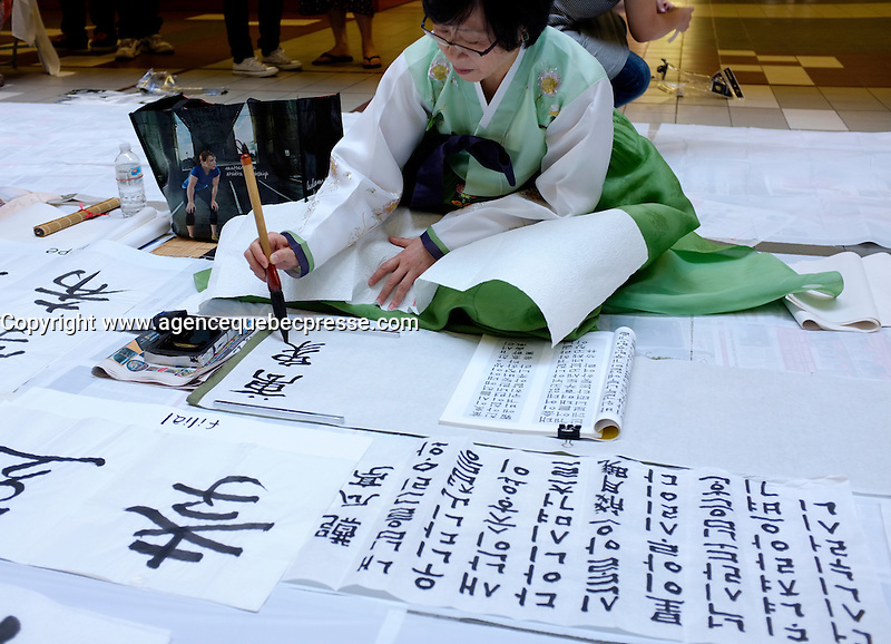 Montreal (Qc) CANADA - July 30 , 2011 - Fantasia Film Festival - Korean, Japanase and Chinese Calligraphy workshop