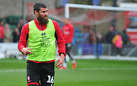 Lincoln City's Michael Bostwick during the pre-match warm-up<br /> <br /> Photographer Andrew Vaughan/CameraSport<br /> <br /> Emirates FA Cup First Round - Lincoln City v Northampton Town - Saturday 10th November 2018 - Sincil Bank - Lincoln<br />  <br /> World Copyright © 2018 CameraSport. All rights reserved. 43 Linden Ave. Countesthorpe. Leicester. England. LE8 5PG - Tel: +44 (0) 116 277 4147 - admin@camerasport.com - www.camerasport.com
