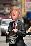 JUNE 28, 2019 - A protestor wears a mask of US President Donald Trump at a protest against coal power during the G20 Summit in Osaka, Japan. (Photo by Ben Weller/AFLO) (JAPAN) [UHU]