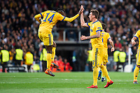 Juventus Blaise Matuidi and Mario Mandzukic celebrating a goal during Champion League match between Real Madrid and Juventus at Santiago Bernabeu Stadium in Madrid, Spain. April 11, 2018. (ALTERPHOTOS/Borja B.Hojas) /NortePhoto.com