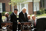 Thursday, May 31, Charlotte, North Carolina. Dedication ceremony for the new Billy Graham Library in Charlotte, North Carolina.. The reverend Billy Graham is helped to the stage by his son Franklin Graham.
