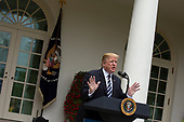 United States President Donald J. Trump held a press conference in the Rose Garden of the White House in Washington D.C., U.S. on May 22, 2019, where he spoke about the unfair treatment he and his family received from Democratic lawmakers and the media due to the investigation conducted by Special Counsel Robert S. Mueller III. <br /> <br /> Credit: Stefani Reynolds / CNP