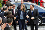 Princess Letizia of Spain with the President of La Rioja Pedro Sanz (r) visit the villages of Haro and San Millan de la Cogolla.May 14,2013. (ALTERPHOTOS/Acero)