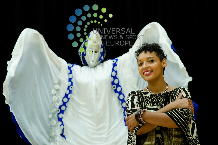 Mela's new director Chris Purnell launches the Edinburgh Mela 2012 Programme at Dancebase and is joined by performers Mara And Isla Menzies (sisters) of Toto Tales who tell and bring to life West African stories though costume, dance, story and drums, Edinburgh, Scotland, 7th June, 2012.Picture:Scott Taylor Universal News And Sport (Europe) .All pictures must be credited to www.universalnewsandsport.com. (Office)0844 884 51 22.