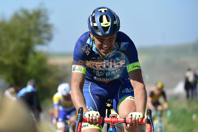Frederik Veuchelen (BEL) Wanty-Groupe Gobert on pave sector 25 Briastre to Solesmes during the 115th edition of the Paris-Roubaix 2017 race running 257km Compiegne to Roubaix, France. 9th April 2017.<br /> Picture: ASO/P.Ballet | Cyclefile<br /> <br /> <br /> All photos usage must carry mandatory copyright credit (&copy; Cyclefile | ASO/P.Ballet)