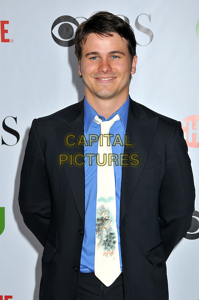 JASON RITTER.CBS, CW and Showtime TCA Press Tour Party 2009 held at the Huntington Library, Pasadena, CA, USA..August 3rd, 2009.half length black suit jacket blue shirt tie print.CAP/ADM/BP.©Byron Purvis/AdMedia/Capital Pictures.