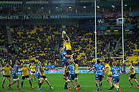 Hurricanes' Ardie Savea takes lineout ball during the Super Rugby Aotearoa match between the Hurricanes and Blues at Sky Stadium in Wellington, New Zealand on Saturday, 18 July 2020. Photo: Dave Lintott / lintottphoto.co.nz