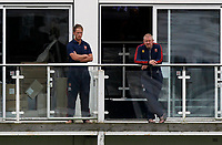 Tom Westley (l) and Anthony McGrath (r) look on from the Essex players balcony during Kent CCC vs Essex CCC, Friendly Match Cricket at The Spitfire Ground on 27th July 2020