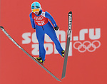 Julia Kykkanen of Finland jumps during the Women's Normal Hill Individual training session of the 2014 Sochi Olympic Winter Games at Russki Gorki Ski Juming Center on February 9, 2014 in Sochi, Russia. Photo by Victor Fraile / Power Sport Images