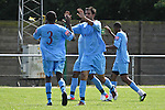 Horsham FC players celebrate their opening goal in the pre-season friendly tie against Great Wakering Rovers, 28th July 2012 at Burroughs Park
