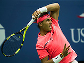 6th September 2017, Flushing Meadowns, New York, USA;  Rafael Nadal (ESP) in action during his quarter-final match at the US Open, played at the USTA Billie Jean King National Tennis Center, Flushing, NY