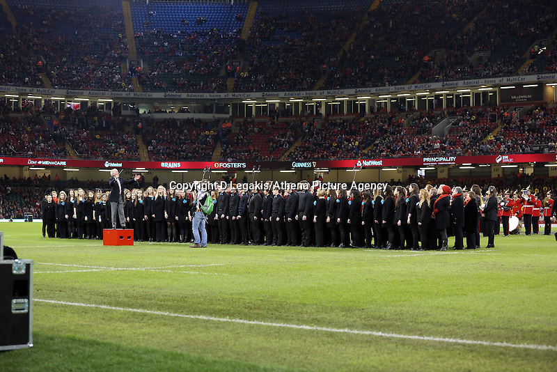 Pictured: A welsh choir entertaining the crowd before kick off. Saturday 15 November 2014<br /> Re: Dove Men Series rugby, Wales v Fiji at the Millennium Stadium, Cardiff, south Wales, UK.