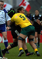 Alexandra Sulusi tackles Fiao'o Faamausili during the 2017 International Women's Rugby Series rugby match between the NZ Black Ferns and Australia Wallaroos at Rugby Park in Christchurch, New Zealand on Tuesday, 13 June 2017. Photo: Dave Lintott / lintottphoto.co.nz