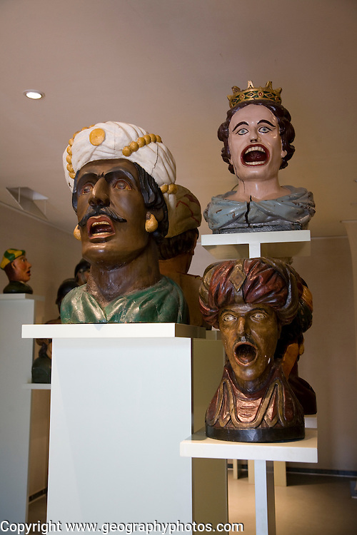 Display of old open mouthed gaper heads traditionally used to identify a pharmacy in Holland, Zuiderzee museum, Enkhuizen, Netherlands
