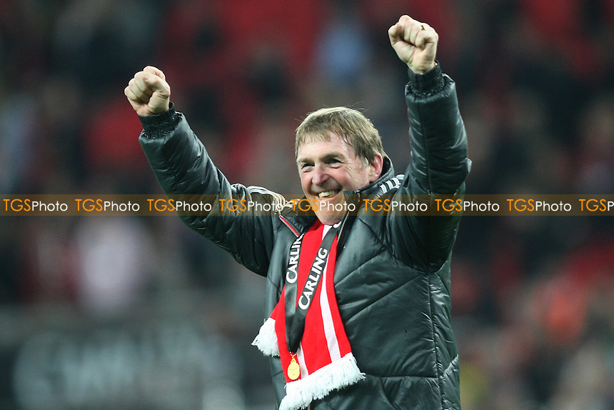 Kenny Dalglish manager of Liverpool celebrates at the final whistle- Cardiff City vs Liverpool - Carling Cup Final at Wembley Stadium, London - 26/02/12 - MANDATORY CREDIT: George Phillipou/TGSPHOTO - Self billing applies where appropriate - 0845 094 6026 - contact@tgsphoto.co.uk - NO UNPAID USE.