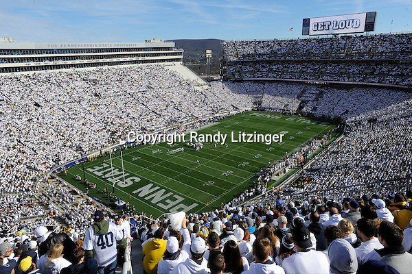 "21 November 2015:  Penn State fans start to cheer as the scoreboard says ""Get Loud""  during the whole stadium white out or white house in Beaver Stadium. The Penn State Nittany Lions vs. the Michigan Wolverines at Beaver Stadium in State College, PA. (Photo by Randy Litzinger/Icon Sportswire)"