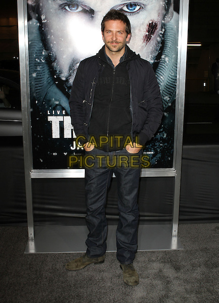 "Bradley Cooper.The World Premiere Of ""The Grey"" Held At The Regal cinemas, Los Angeles, California, USA..January 11th, 2012.full length jeans denim black jacket top hands in pockets.CAP/ADM/KB.©Kevan Brooks/AdMedia/Capital Pictures."