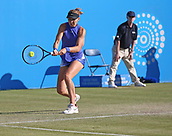 June 15th 2017, Nottingham, England;WTA Aegon Nottingham Open Tennis Tournament day 6;  Solid backhand from Lucie Safarova of Czech Republic who squares the match at one set all in her match against Su-Wei Hsieh of Taipei