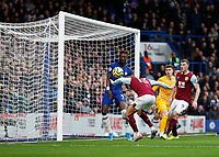 11th January 2020; Stamford Bridge, London, England; English Premier League Football, Chelsea versus Burnley; Jeff Hendrick of Burnley heads the ball to score his sides 1st goal in the 19th minute only to be ruled by VAR to be a disallowed goal due to an earlier Burnley offside in the build up - Strictly Editorial Use Only. No use with unauthorized audio, video, data, fixture lists, club/league logos or 'live' services. Online in-match use limited to 120 images, no video emulation. No use in betting, games or single club/league/player publications