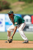 Greensboro Grasshoppers first baseman Carlos Lopez (7) on defense against the Kannapolis Intimidators at CMC-NorthEast Stadium on September 1, 2014 in Kannapolis, North Carolina.  The Grasshoppers defeated the Intimidators 7-4.  (Brian Westerholt/Four Seam Images)