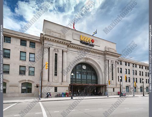 VIA Rail Canada Union Station in Winnipeg downtown. Winnipeg Railway Museum. Main street, Winnipeg, Manitoba, Canada 2017.
