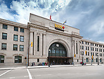 VIA Rail Canada Union Station in Winnipeg downtown. Winnipeg Railway Museum. Main street, Winnipeg, Manitoba, Canada 2017.