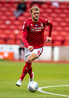 7th July 2020; City Ground, Nottinghamshire, Midlands, England; English Championship Football, Nottingham Forest versus Fulham; Joe Worrall of Notts Forest looks for a passing outlet