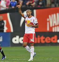 Thierry Henry of The New York Red Bulls (14) celebrates his score with the fans in the 29th minute of the game. The New York Red Bulls defeated D.C. United  2-0, at RFK Stadium, Saturday April 13, 2013.