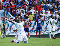 SANTA MARTA - COLOMBIA, 26-01-2019: Yohn Mosquera del Jaguares celebra después el primer gol de su equipo anotado por Raphael Lucas (fuera de cuadro) durante partido por la fecha 1 entre Unión Magdalena y Jaguares FC como parte de la Liga Águila I 2019 jugado en el estadio Sierra Nevada de la ciudad de Santa Marta. / Yohn Mosquera of Jaguares celebrates the first goal of his team scored by Raphael Lucas (out the frame) to Union during match for the date 1 between  Union Magdalena and Jaguares FC as a part Aguila League I 2019 played at Sierra Nevada stadium in Santa Marta city. Photo: VizzorImage / Gustavo Pacheco / Cont