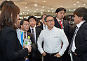 January 30, 2014, Tokyo, Japan - President Akio Toyoda of Japan's Toyota Motor Corp., answers questions to reporters after presenting its motor sports activities for 2014 in Tokyo on Thursday, January 30, 2014. They will include participation in the FIA World Endurance Championship and the Le Mans 24-hour race, the NASCAR racing series and the Super GT and Super Formula championships. Toyoda said its motor sports activities through Lexus Racing and Toyota Racing are aimed to bring more joy to more people through automobiles.  (Photo by Natsuki Sakai/AFLO)