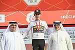 Laurens De Plus (BEL) Team Jumbo-Visma retains the young riders White Jersey at the end of Stage 2 of the 2019 UAE Tour, running 184km form Yas Island Yas Mall to Abu Dhabi Breakwater Big Flag, Abu Dhabi, United Arab Emirates. 25th February 2019.<br /> Picture: LaPresse/Fabio Ferrari | Cyclefile<br /> <br /> <br /> All photos usage must carry mandatory copyright credit (© Cyclefile | LaPresse/Fabio Ferrari)
