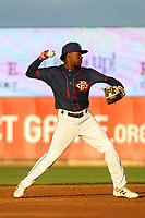 Cedar Rapids Kernels shortstop Yeltsin Encarnacion (43) throws to first base during a Midwest League game against the Bowling Green Hot Rods on May 2, 2019 at Perfect Game Field in Cedar Rapids, Iowa. Bowling Green defeated Cedar Rapids 2-0. (Brad Krause/Four Seam Images)