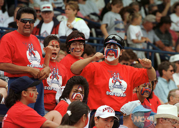 25 MAY 1998:  A group of fans give it their best during the NCAA Division 1 Woman's Softball Championship held at the Amateur Softball Hall of Fame Stadium in Oklahoma City, OK and hosted by the University of Oklahoma. Fresno State Defeated the University of Arizona 1-0 for the championship title. Lisa Hoke/NCAA Photos