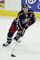 20 October 2006: Columbus Blue Jackets' Adam Foote plays against the Toronto Maple Leafs at Nationwide Arena in Columbus, Ohio.<br />