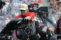 Jun. 2, 2012; Englishtown, NJ, USA: NHRA crew chief Richard Hogan for top fuel dragster driver Steve Torrence during qualifying for the Supernationals at Raceway Park. Mandatory Credit: Mark J. Rebilas-