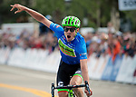 August 11, 2017 - Breckenridge, Colorado, U.S. -  Cannondale's, Alex Howes, celebrates his victory in the second stage of the inaugural Colorado Classic cycling race, Breckenridge, Colorado.